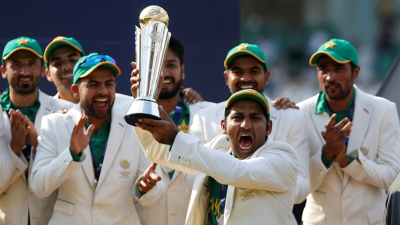 Pakistan's cricketers celebrate their win at the Champions Trophy final [Paul Childs/Reuters]