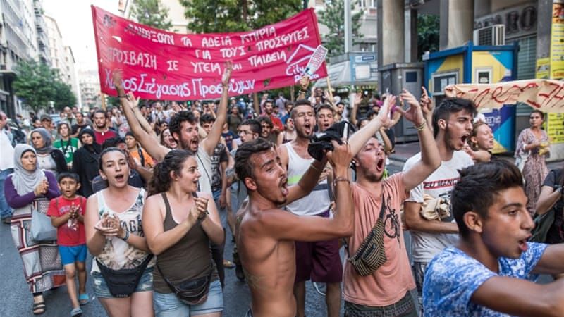 greeks protest government crackdown on refugee squats greece al