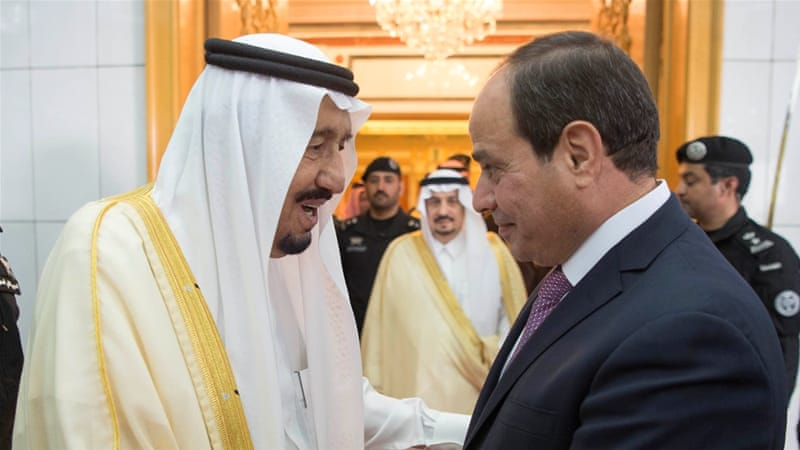 Saudi Arabia's King Salman bin Abdulaziz Al Saud shakes hands with Egypt's President Abdel Fattah al-Sisi in Riyadh on April 23 [Reuters]