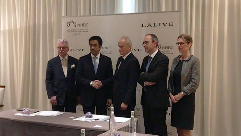 Qatari officials meet lawyers from the international law firm Lalive in Geneva [Ayache Derradji/Al Jazeera]