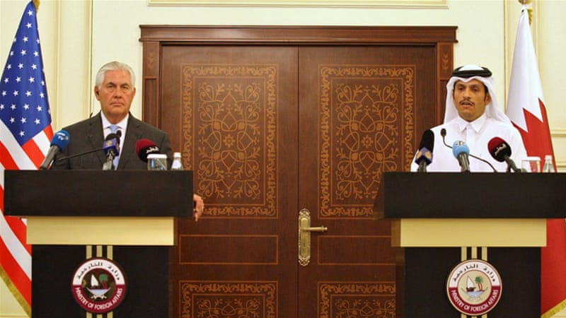 Tillerson held meetings with the Qatari emir and foreign minister on Tuesday [Naseem Zeitoon/Reuters]
