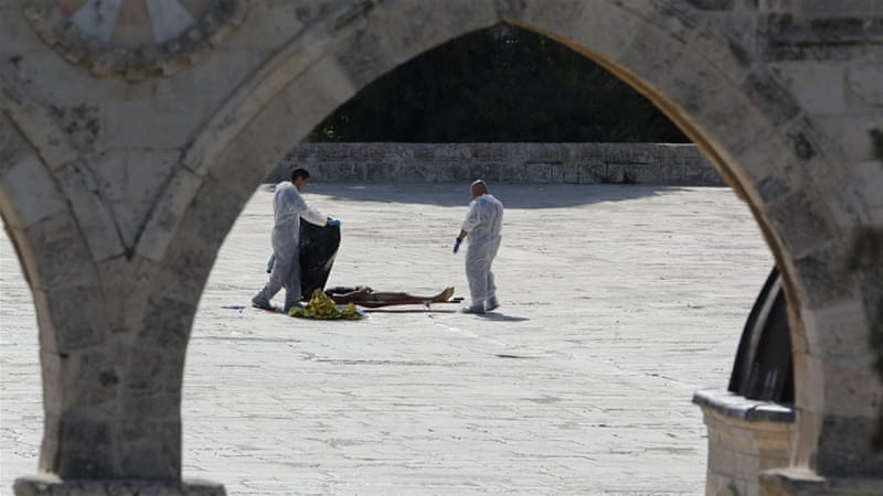 Three suspects were killed by Israeli police in the courtyard of Al Aqsa mosque [Abir Sultan/Reuters]