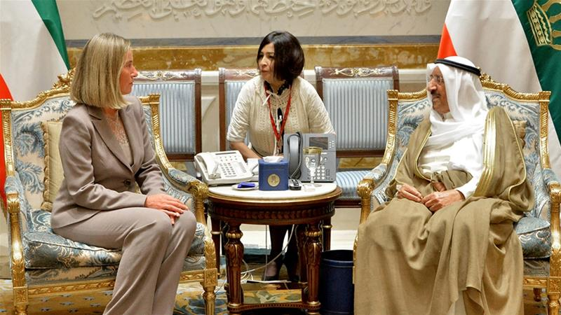 Mogherini expressed EU support for the mediation efforts of Kuwait's Emir [Handout/KUNA/AFP]