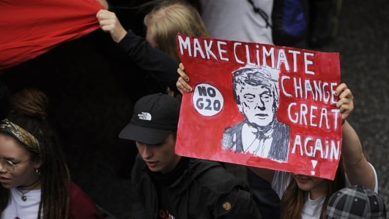 World leaders lined up against Trump on climate change, reaffirming their fight against global warming [AFP]