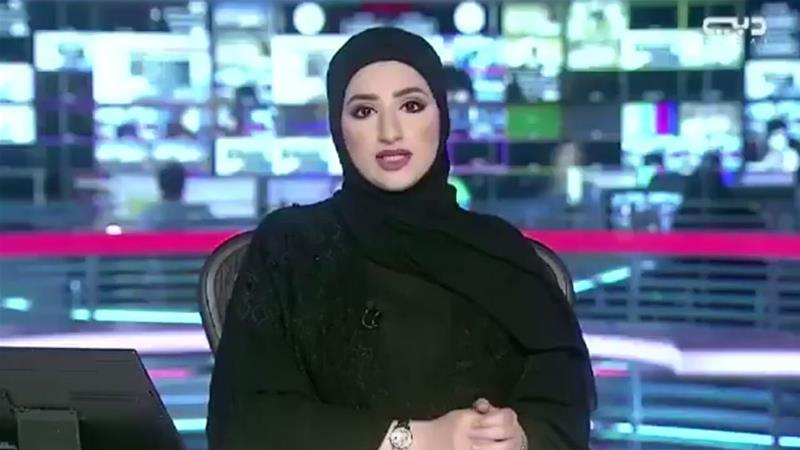The Dubai TV presenter claimed protesters in Doha were teargassed, a report dismissed by Qatar as 'fake news' [Twitter/Dubai TV]