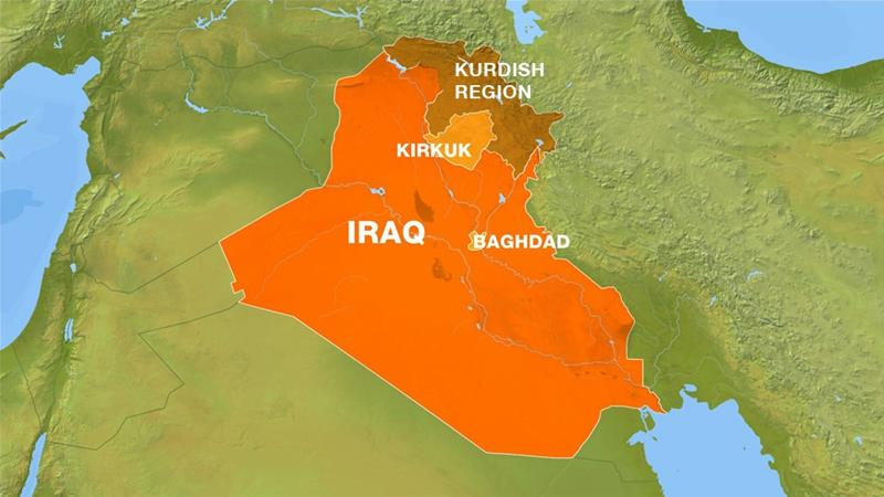 Iraq map showing Kirkuk and the Kurdistan region