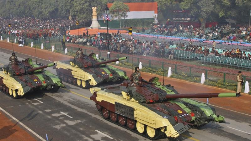 Indian army's T-72 Ajeya tanks take part in a full dress rehearsal for the Republic Day parade in New Delhi [B Mathur/Reuters]