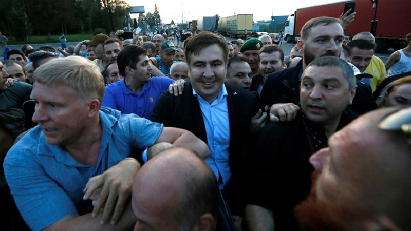 Ex-governor Mikheil Saakashvili 'forces entry' to Ukraine