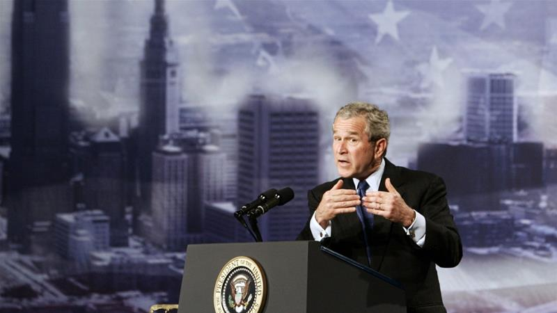 US President George W Bush delivers remarks on the global war on terror in Cleveland, Ohio three years after the invasion of Iraq [Reuters/Jim Young]