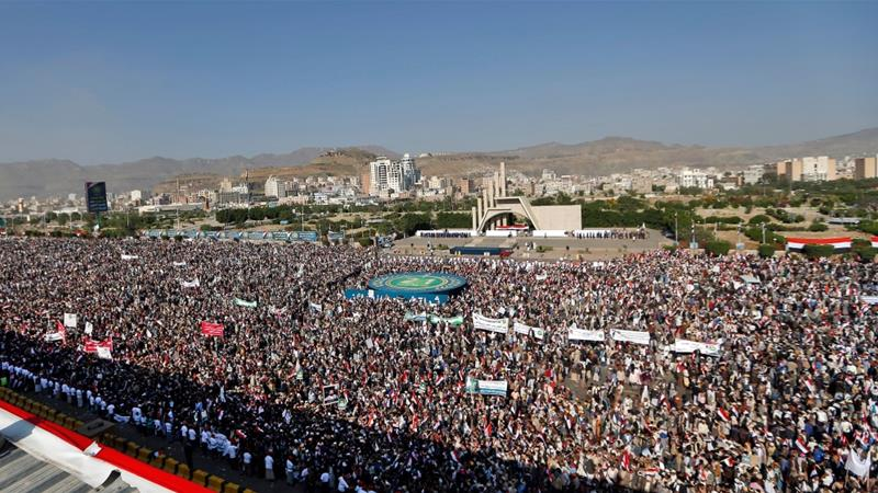 Houthi rally in Sanaa marked their 'September 21 revolution' anniversary [Mohammed Huwais/AFP]