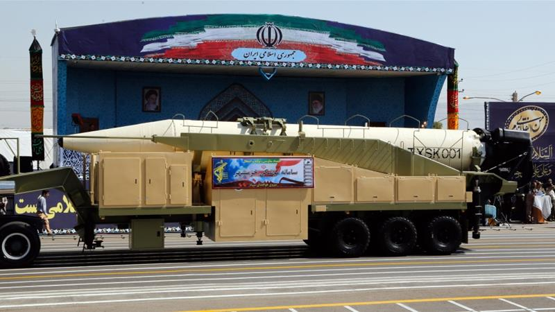The new Khoramshahr missile was displayed during the annual military parade in Tehran on Friday [AFP]