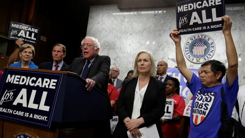 Senator Bernie Sanders speaks during an event to introduce 'the Medicare for All Act of 2017' on Capitol Hill in Washington, US [Yuri Gripas/Reuters]