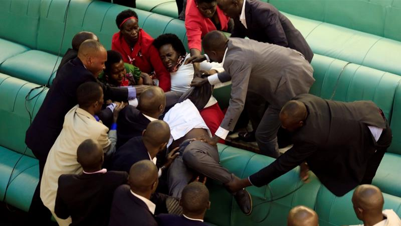 Lawmakers fight in Uganda parliament for second day over presidential age limit