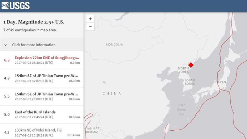 The website of the US Geological Survey said the tremor of 6.3 magnitude had a depth of 23 kilometres [USGS/Al Jazeera]