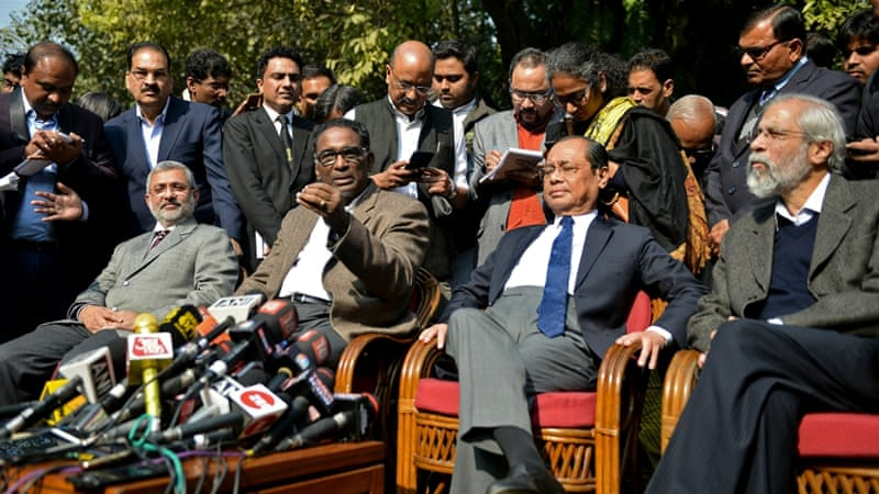 From left: Justices Kurian Joseph, Jasti Chelameswar, Ranjan Gogoi and Madan Lokur address the media [Reuters]