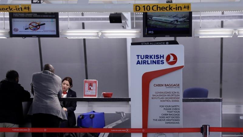 A sign for Turkish Airlines stands near the counters in JFK International Airport, New York [File: Lucas Jackson/Reuters]