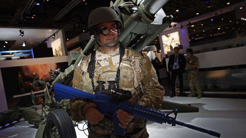 DSEI, held every two years, brings together some 1,600 exhibitors from more than 40 countries [Elizabeth Dalziel/AP]