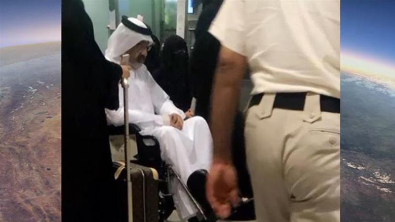 Sheikh Abdullah bin Ali Al Thani was seen in a wheelchair after arriving in Kuwait [Al Jazeera]