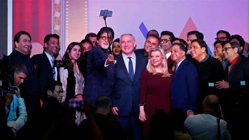 Benjamin Netanyahu asked Bollywood stars for a selfie 'like the one at the Oscars' [Shailesh Andrade/Reuters]