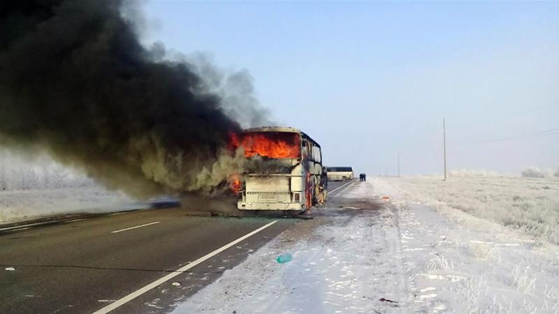 The bus, carrying 55 passengers and two drivers, was traveling along a remote road in the Aktobe region [AFP]