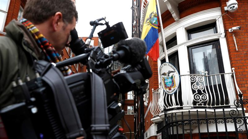 The Ecuadorian embassy in London, where Julian Assange has been staying since 2012 [Photo/Peter Nicholls/Reuters]
