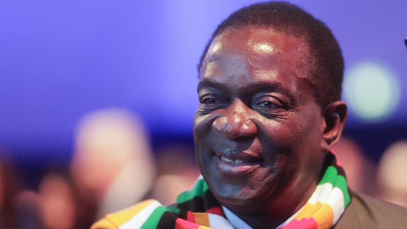 Emmerson Mnangagwa attends the opening session of the World Economic Forum in Davos, Switzerland on Tuesday [Markus Schreiber/AP]