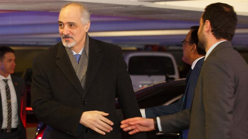 Head of the Syrian government delegation Bashar al-Jaafari (L) arrived in Vienna on 25 January [Florian Wieser/EPA]