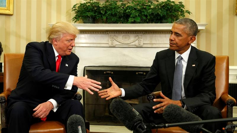 US President Barack Obama meets with President-elect Donald Trump in the Oval Office of the White House in Washington, November 10, 2016 [Kevin Lamarque/Reuters]
