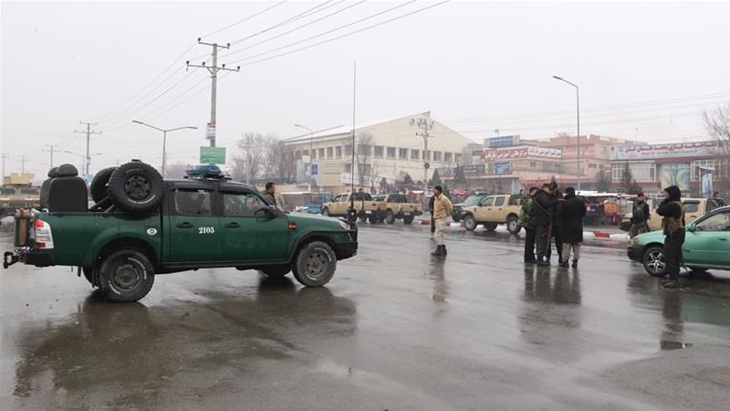 Security officials closed off roads leading to the Marshal Faheem Military academy, after an attack in Kabul [Jawad Jalali/EPA]