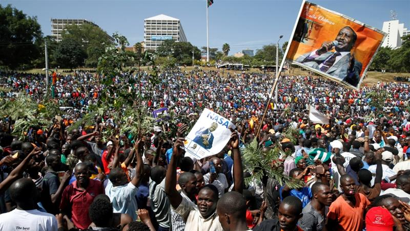 The shutdown took place before a rally by opposition leader Raila Odinga [Baz Ratner/Reuters]