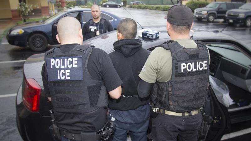 ICE enforces US immigration laws and has the power to detain and deport undocumented immigrants [AP]