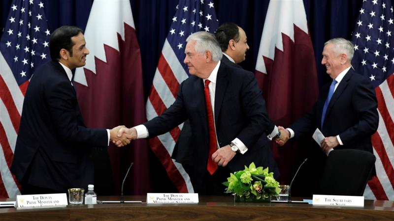 US and Qatari officials agreed to strengthen security cooperation [Yuri Gripas/Reuters]
