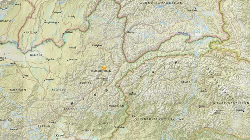 The epicentre was located 265km northeast of the Afghan capital, Kabul [USGS]