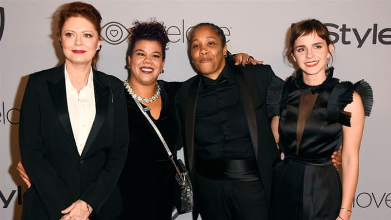 Actor Susan Sarandon, activists Rosa Clemente and Marai Larasi, and actor Emma Watson attend a post-Golden Globes party [Frazer Harrison/AFP/Getty Images]