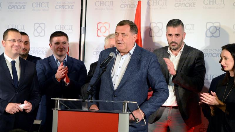 Milorad Dodik, of the SNSD attends a news conference where he declared himself the winner of the Serb seat of the Tri-partite Bosnian Presidency on October 7, 2018 [Ranko Cukovic/Reuters]