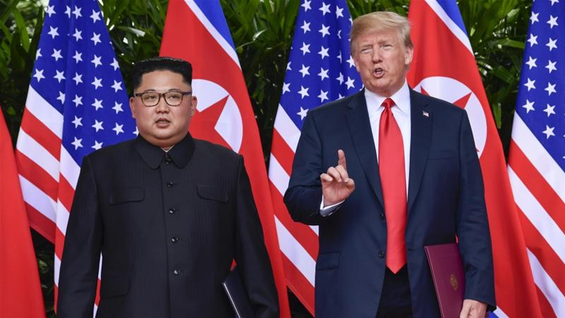 President Trump makes a statement before saying goodbye to North Korea leader Kim Jong Un in June in Singapore [Susan Walsh/AP]