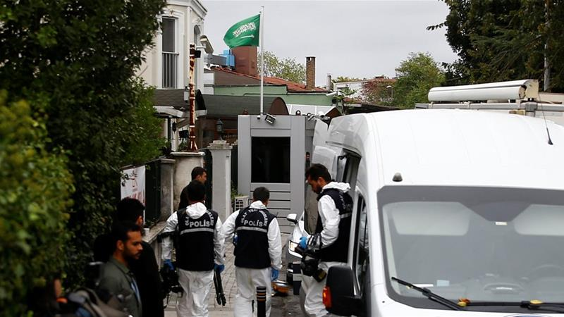Forensic officials searched for evidence at the home of Saudi Arabia's consul-general [Osman Orsal/Reuters]