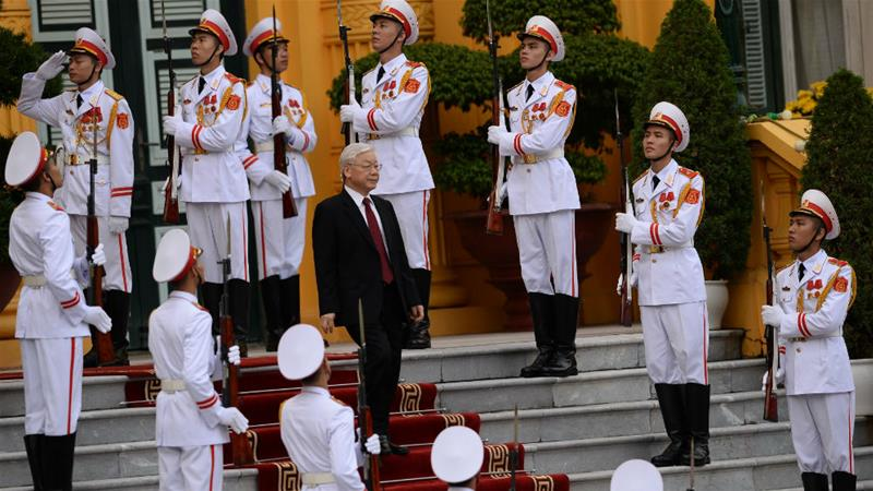 Nguyen Phu Trong, 74, is the only candidate to succeed Tran Dai Quang, who died last month following a serious illness [Hoang Dinh Nam/Reuters]