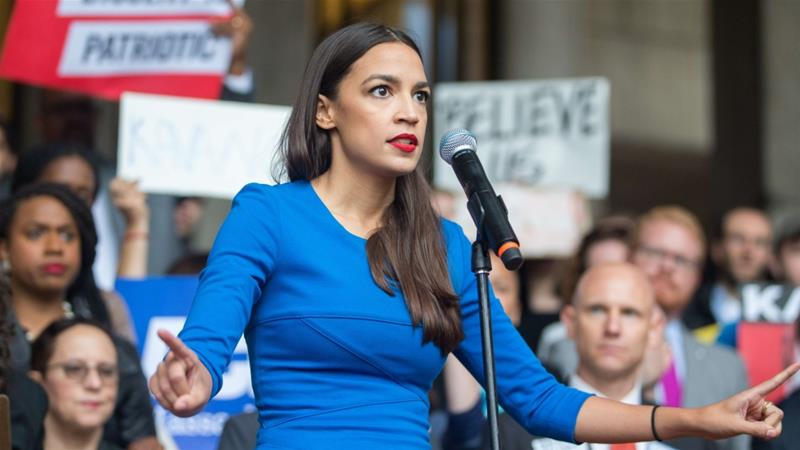 New York Democratic congressional candidate Alexandria Ocasio-Cortez speaks at a rally calling on October 1, 2018 in Boston, US [Scott Eisen/Getty Images]