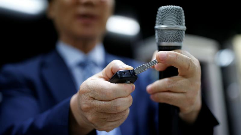 A car key-shaped spycam on display in Seoul, South Korea [Kim Hong-Ji/Reuters]