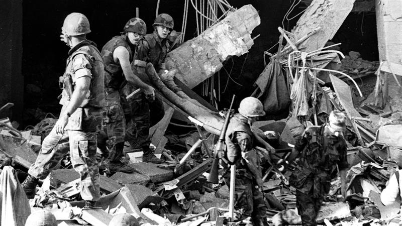 The twin bombings killed 241 US and 58 French peacekeepers on October 23, 1983 [Pierre Sabbagh/Al Jazeera]