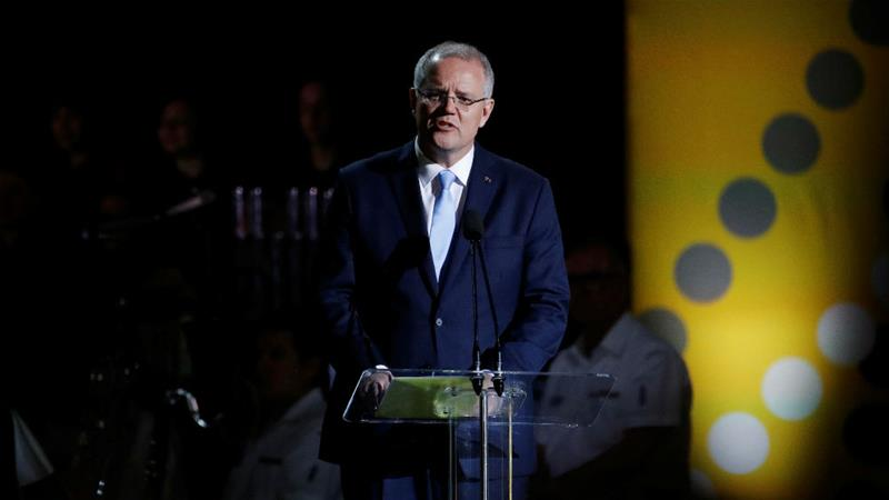 Prime Minister Scott Morrison gave an emotional apology to sex abuse survivors on Monday [Phil Noble/Reuters]