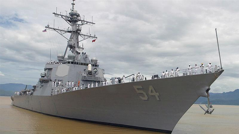 USS Curtis Wilbur and USS Antietam demonstrated US commitment 'to a free and open Indo-Pacific' [AP]