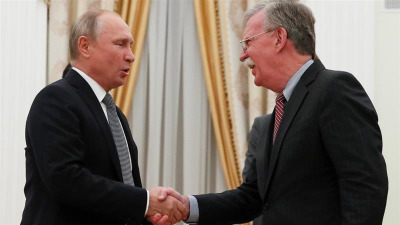 Bolton discusses with Putin Trump's issues with the INF treaty [Maxim Shemetov/Reuters]