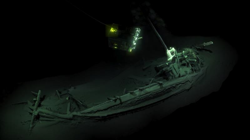 The ship, which is lying on its side with its mast and rudders intact, was dated back to 400BC - [Black Sea MAP/EEF Expeditions/AFP]