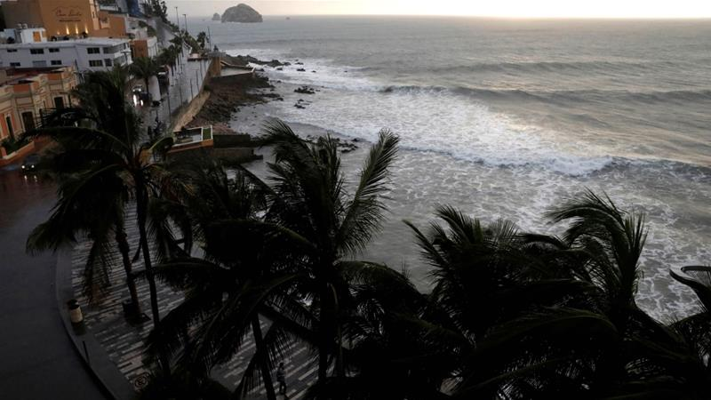 Palm trees waves in Mazatlan as Hurricane Willa approaches the Pacific beach resort [Henry Romero/Reuters]
