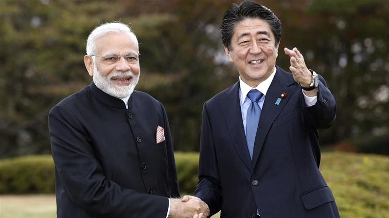 Indian PM Modi arrives for summit with Abe
