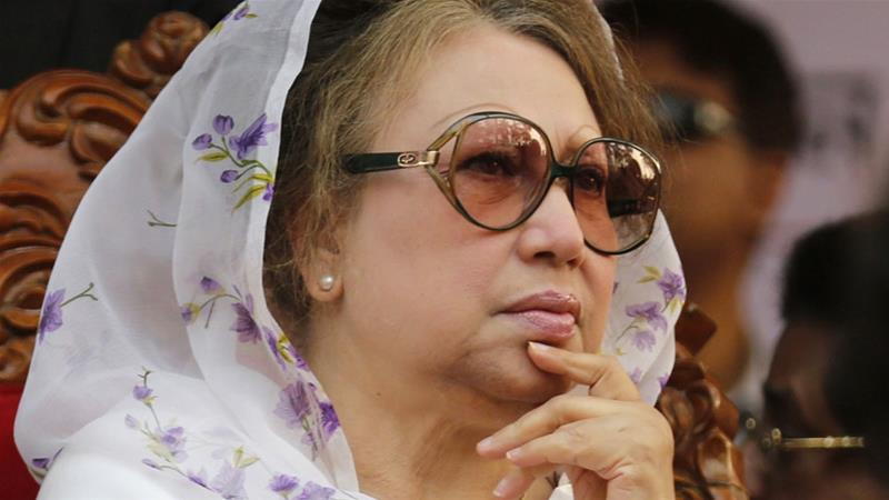The decision came the day after Khaleda Zia was jailed for seven years in a separate case [Andrew Biraj/Reuters]