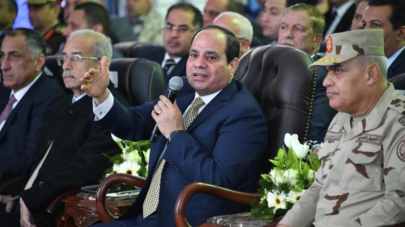 Egyptian President Abdel-Fattah el-Sisi speaks during a ceremony marking the start of a massive gas project with Italian energy firm Eni on January 31, 2018 in Port Said, Egypt [AP]