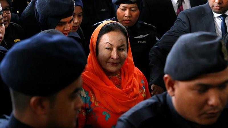 Rosmah Mansor arrives in court in Kuala Lumpur, Malaysia on Thursday [Lai Seng Sin/Reuters]